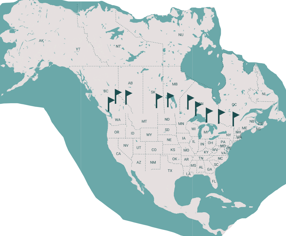 North America map with stops in Canada